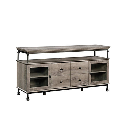 "Sauder® Canal Street Entertainment Credenza For 60"" TVs, 30""H x 60""W x 18""D, Northern Oak/Dark Metal"