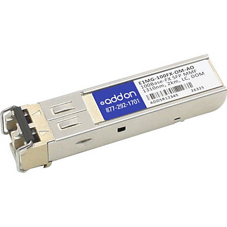 AddOn Brocade E1MG-100FX-OM Compatible TAA Compliant 100Base-FX SFP Transceiver (MMF, 1310nm, 2km, LC, DOM) - 100% compatible and guaranteed to work