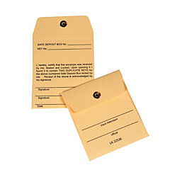 "Control Group Permanent-Lock Vault Key Envelopes, 3"" x 5"", Manila, Pack Of 25"