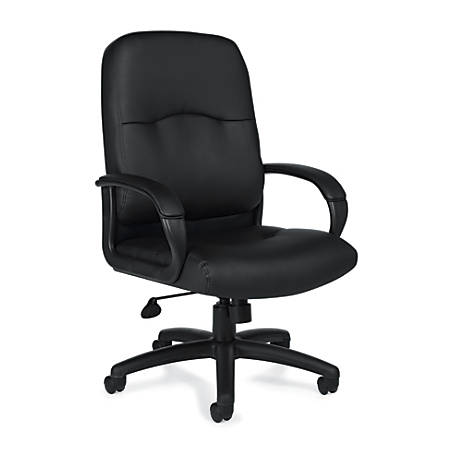 """Offices To Go™ Luxehide Leather Executive Chair, 42 1/2""""H x 27""""W x 26""""D, Black"""