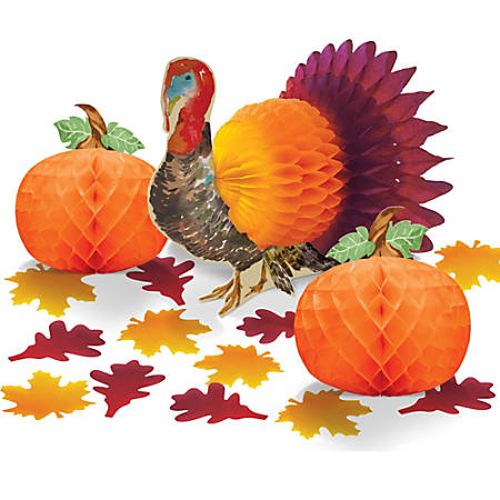 Amscan Paper Traditional Thanksgiving Table Decorating Kits, Set Of 4 Kits