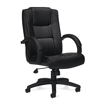 "Offices To Go™ Luxehide Leather Executive Chair, 44 1/2""H x 30""W x 25 1/2""D, Black"