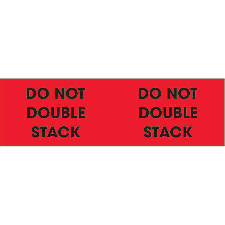 """Tape Logic® Preprinted Pallet Protection Labels, DL1194, 3"""" x 10"""", """"Do Not Double Stack"""", Fluorescent Red, Roll Of 500"""