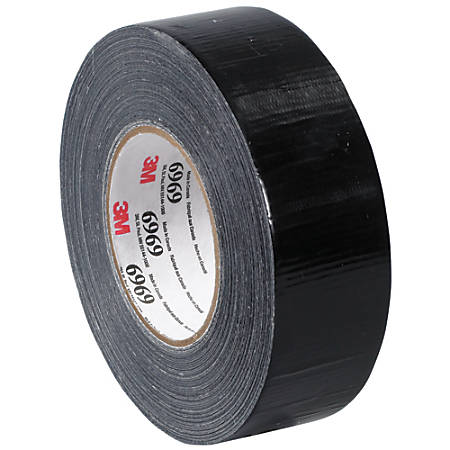 """3M™ Highland™ 6969 Duct Tape, 3"""" Core, 2"""" x 180', Black, Case Of 3"""