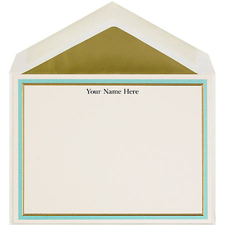 "The Occasions Group Stationery Note Cards, 4 1/2"" x 6 1/4""W, Flat, Aqua Gold Double Border, Ecru Matte, Box Of 25"