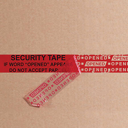 """Tape Logic® Secure Tape Strips, 3"""" Core, 2"""" x .25 Yd., Red, Pack Of 100"""