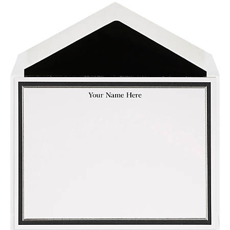 """The Occasions Group Stationery Note Cards, 4 1/2"""" x 6 1/4""""W, Flat, Black Silver Double Border, White Matte, Box Of 25"""