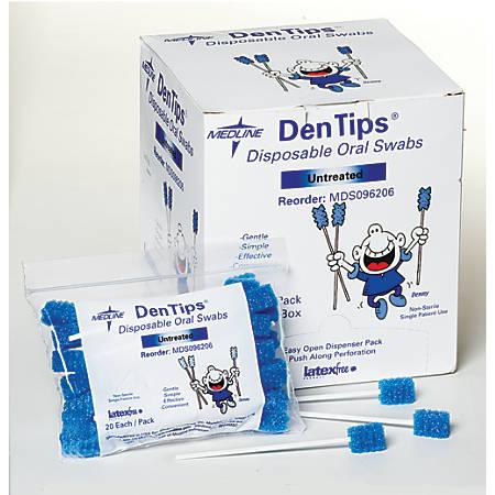 Medline DenTips Oral Swabsticks, Untreated, Blue, Case Of 1,000
