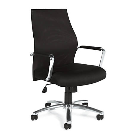 "Offices To Go™ Mesh Mid-Back Chair, 41""H x 23 1/2""W x 24""D, Black/Aluminum"