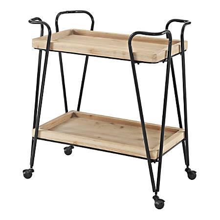 """Linon Newell 2-Shelf Bar Cart, 33""""H x 29""""W x 17-1/4""""D, Matte Black"""
