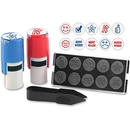 "Stamp-Ever U.S. Stamp & Sign 10-in-1 Stamp Kit - Message/Design Stamp - ""Needs Work, Good Work, Great Job, Thumbs Up, Star, Smiley Face, Frowning Face, Checkmark, A+, Way To Go"" - 0.63"" Impression Diameter - Blue, Red - 1 Each"