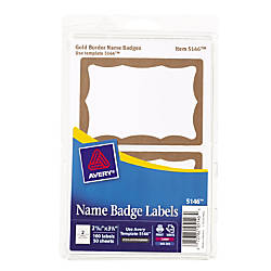 Avery Self Adhesive Name Badges Gold
