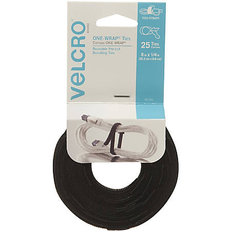 VELCRO® Brand VELCRO Brand Reusable Self-Gripping Cable Ties - Tie - Black - 25 Pack