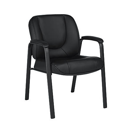 """Offices To Go™ Luxhide Leather Guest Chair, 33 1/2""""H x 27""""W x 24 1/2""""D, Black"""