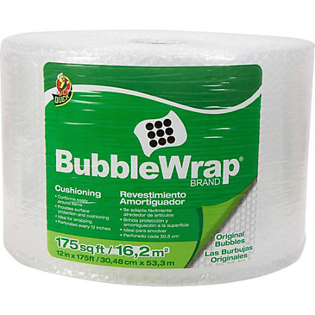 """Duck Brand Bubblewrap Protective Packaging - 12"""" Width x 175 ft Length - 0.2"""" Bubble Size - Reusable, Lightweight, Water Resistant, Perforated - Nylon - Clear"""