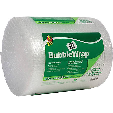 "Duck Brand Brand Protective Bubble Wrap Packaging - 12"" Width x 60 ft Length - 0.2"" Bubble Size - Reusable, Lightweight, Water Resistant, Perforated - Nylon - Clear"
