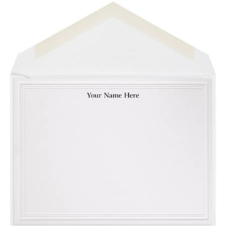 "The Occasions Group Stationery Note Cards, 4 1/2"" x 6 1/4""W, Flat, 2-Step Embossed Panel, White Matte, Box Of 25"