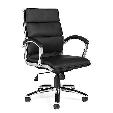 "Offices To Go™ Luxehide Executive Chair, With Segmented Cushion, 41""H x 24 1/2""W x 24 1/2""D, Black/Aluminum"