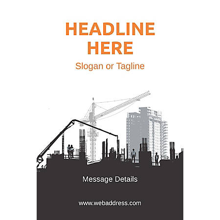 Adhesive Sign, Construction Site, Vertical