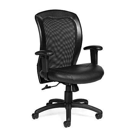 """Offices To Go™ Luxhide Adjustable Mid-Back Chair, 38""""H x 25""""W x 24 1/2""""D, Black"""
