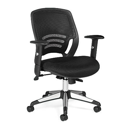 "Offices To Go™ Mesh Mid-Back Chair, 36 1/2""H x 24 1/2""W x 25 1/2""D, Black/Aluminum"