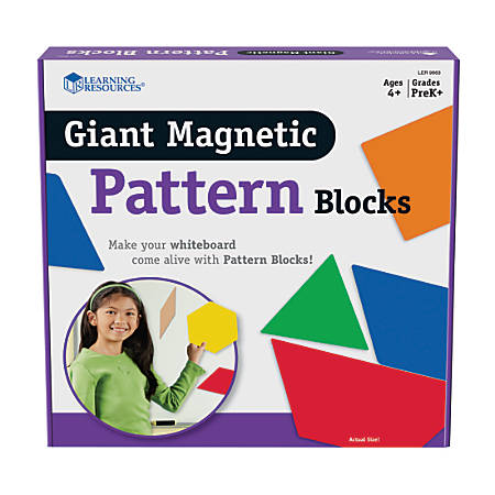 Learning Resources® Giant Magnetic Pattern Blocks, Grades Pre-K - 9, Pack Of 47