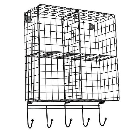 """Honey Can Do 4-Cubby Wall Shelf With Hooks, 22-1/2""""H x 17-3/4""""W x 6-3/4""""D, Black"""