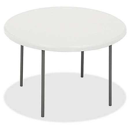 """Iceberg IndestrucTable TOO Folding Table - Round Top - Four Leg Base - 4 Legs - 2"""" Table Top Thickness x 78"""" Table Top Diameter - Platinum, Powder Coated - High-density Polyethylene (HDPE), Steel"""
