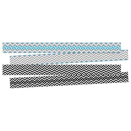 "Barker Creek Double-Sided Border Strips, 3"" x 35"", Chevron Black/Blue, Set Of 24"