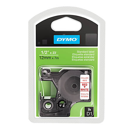 """DYMO® D1 45015 Red-On-White Labeling Tape, 0.5"""" x 23'"""