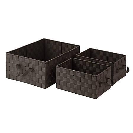 Honey-Can-Do Woven Baskets 3-Piece Set, Espresso