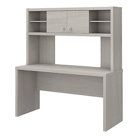 "kathy ireland® Office by Bush Business Furniture Echo 60""W Credenza Desk With Hutch, Gray Sand, Premium Installation"