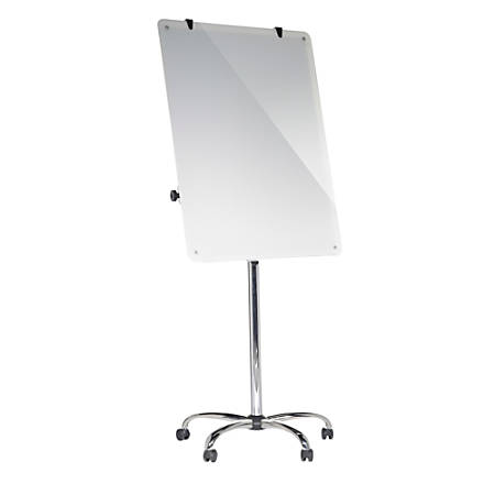MasterVision® Heavy-Duty Magnetic Glass Easel, Steel, White