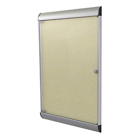 Ghent Silhouette 1-Door Enclosed Bulletin Board, Vinyl, Satin & Black Aluminum Frame, Caramel