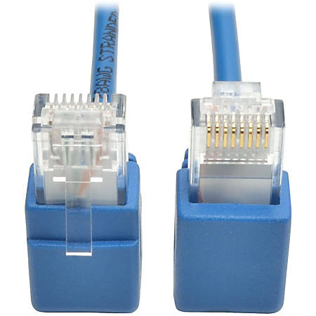 Tripp Lite Cat6 Gigabit Snagless Molded Slim UTP Patch Cable Right Angle 1' - Category 6 for Network Device, Switch, Router, Printer, Server, Modem, Patch Panel - 128 MB/s - Patch Cable - 1 ft - 1 x RJ-45 Male Network - 1 x RJ-45 Male Network - Blue