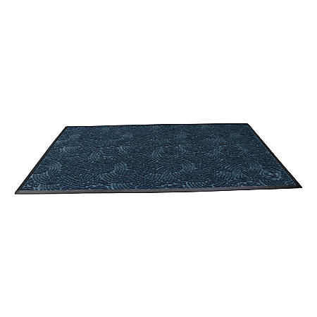 "Waterhog Plus Swirl Floor Mat, 48"" x 72"", 100% Recycled, Indigo"