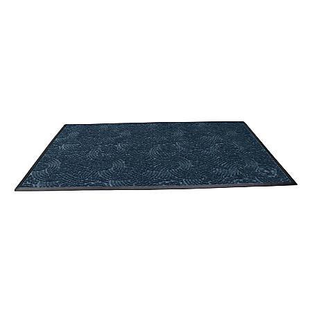 "Waterhog Plus Swirl Floor Mat, 48"" x 72"", 100% Recycled, Indigo"