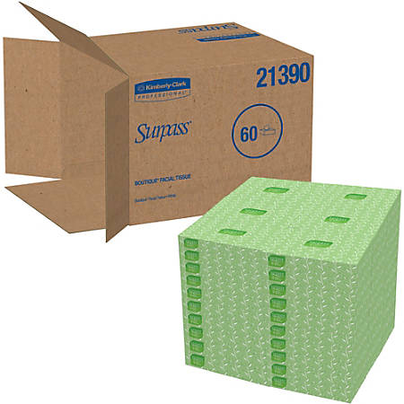 Surpass® 2-Ply Facial Tissues, 45% Recycled, FSC Certified, White, 125 Per Box, Pack Of 60