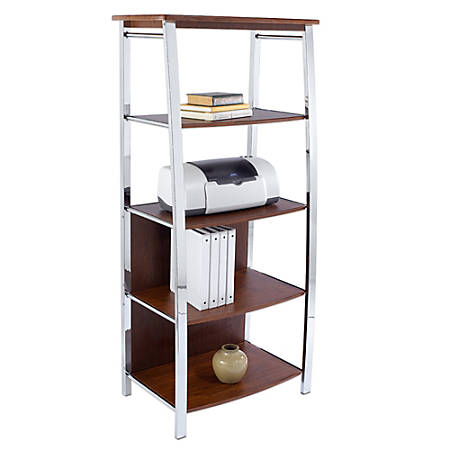 "Realspace® Mezza 60""H 4-Shelf Bookcase, Cherry/Chrome"