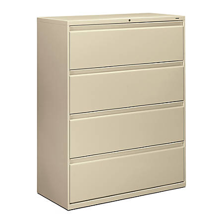 """HON® 800-Series Lateral File With Lock, 4 Drawers, 53""""H x 42""""W x 19 1/4""""D, Putty"""