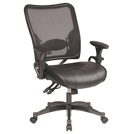 """Office Star™ Professional Dual Function Air Grid™ Leather Chair, 44 1/2""""H x 28 1/4""""W x 30 1/4""""D, Gunmetal Frame, Black Leather"""