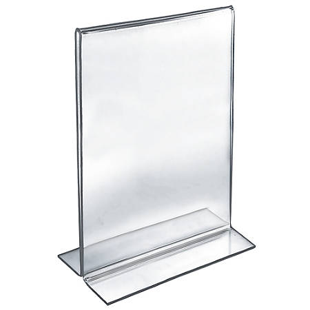 "Azar Displays Double-Foot Acrylic Sign Holders, 17"" x 11"", Clear, Pack Of 10"