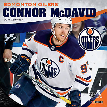 "Turner Sports Monthly Wall Calendar, 12"" x 12"", Edmonton Oilers Connor McDavid, January to December 2019"