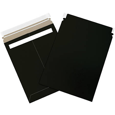 """Office Depot® Brand Self-Seal Flat Mailers, 9 3/4"""" x 12 1/4"""", Black, Case Of 100"""