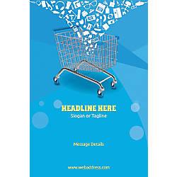Adhesive Sign Shopping Cart Vertical