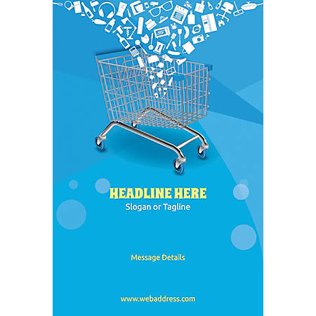 Adhesive Sign, Shopping Cart, Vertical