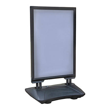 "Azar Displays Plastic Weighted Vertical Sidewalk Sign Holder, 43""H x 26-1/2""W x 33""D, Black/White"