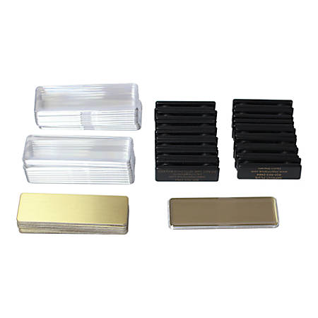 """The Mighty Badge™ Name Badge Starter Kit, For Laser Printers, 1"""" x 3"""", Gold, Pack Of 10"""