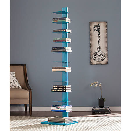 "Southern Enterprises Spine Tower Shelf, 65 1/4""H x 15 3/4""W x 16""D, Bright Cyan"