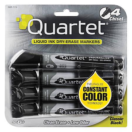 Quartet® EnduraGlide® Dry-Erase Markers, Chisel, Black, Pack Of 4